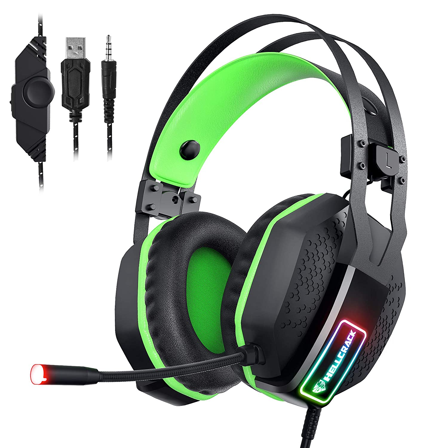 Mifanstech V-10 Gaming Headset for Xbox One Playstation 2 PS4 PC – 3.5mm Surround Sound, Noise Reduction Game Headphone with Microphone and Volume Control for Laptop, Tablet,Switch Games Green