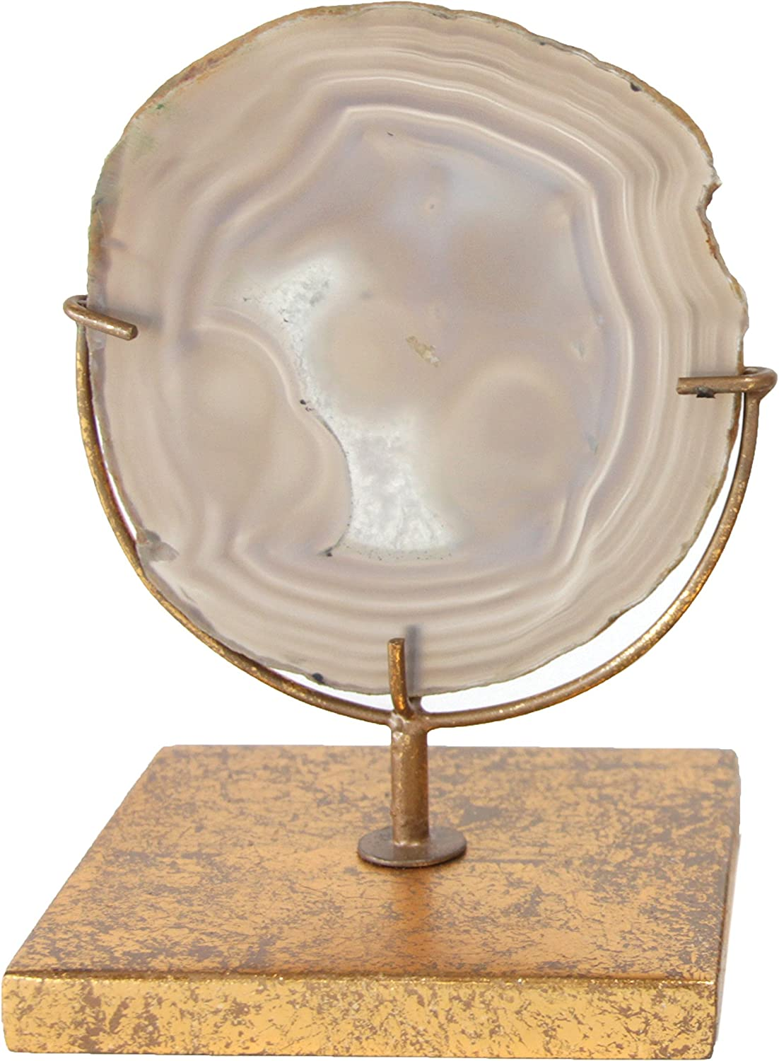 Creative Co-Op Decorative Agate Stone Slice on Metal Stand, Natural