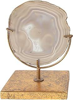 Creative Co-op DA4783 Decorative Agate Stone Slice on Metal Stand