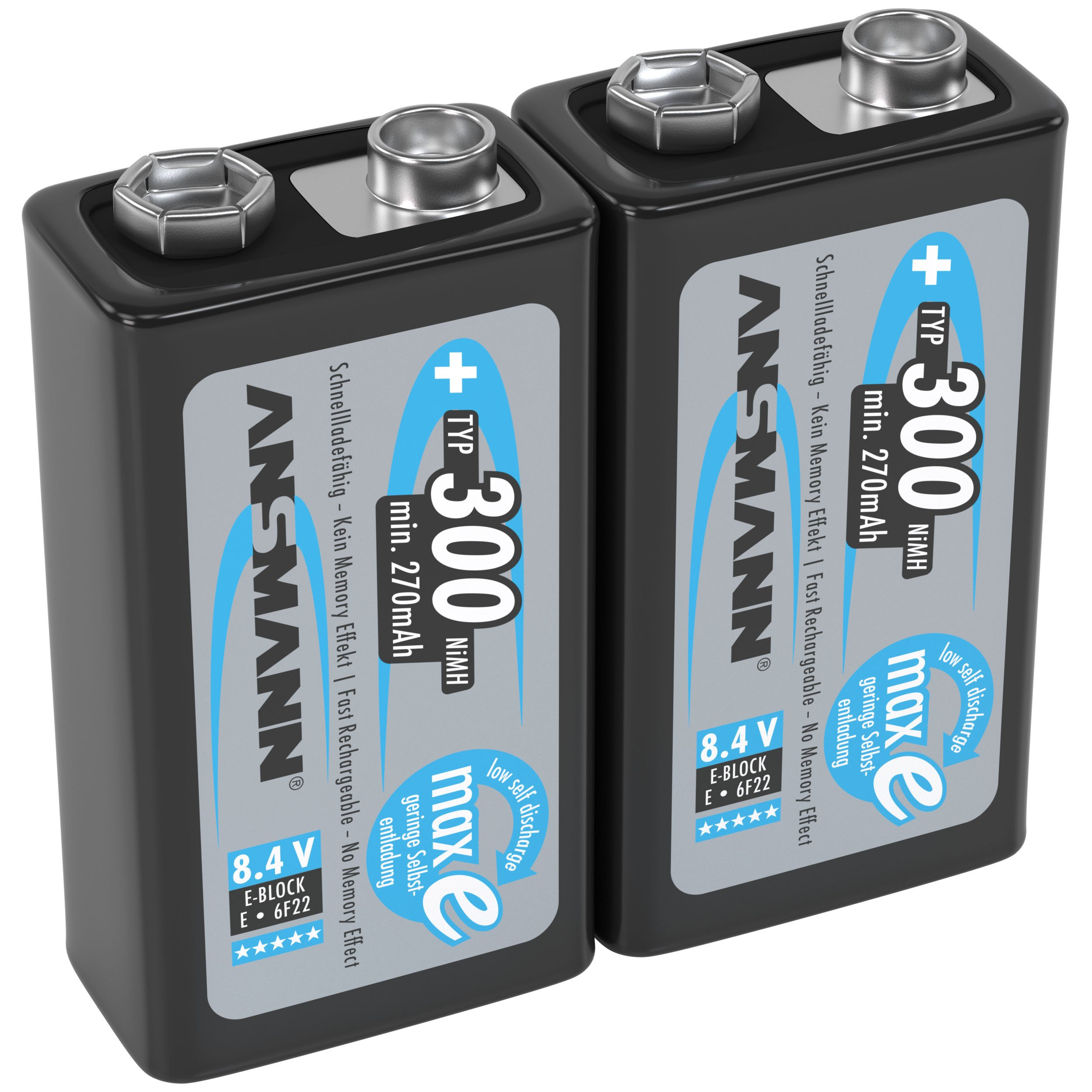 ANSMANN 9V Rechargeable Batteries 300mAh pre-Charged Low Self-Discharge (LSD) NiMH 9 Volt Battery 9V Battery (2-Pack)