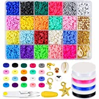 4500 Pcs Clay Beads 4mm 20 Colors Flat Round Polymer Clay Spacer Beads with Pendant Charms Kit and 4 Roll Elastic…