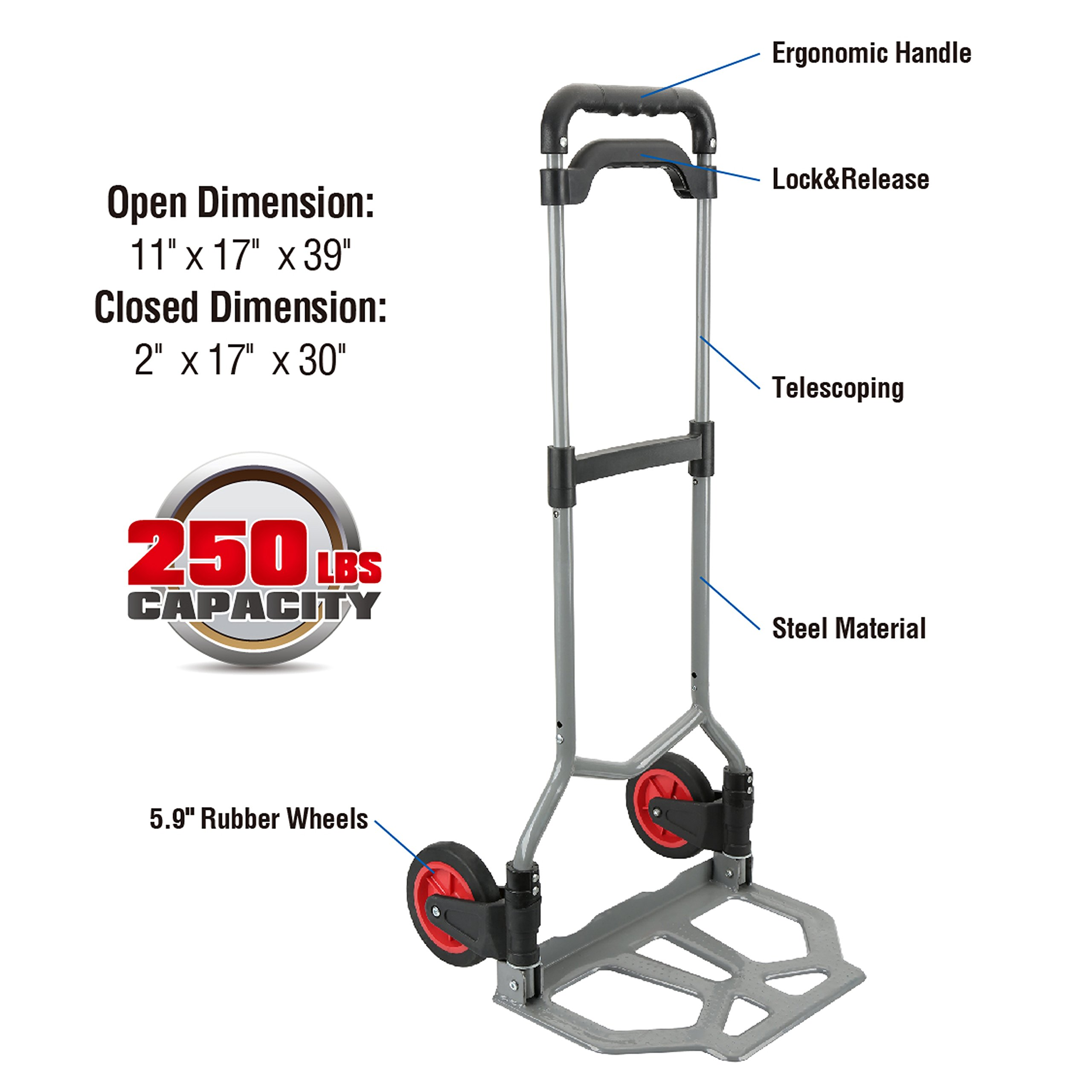 Pack-N-Roll 83-298-917 Folding Hand Truck Dolly, 250 lbs Capacity