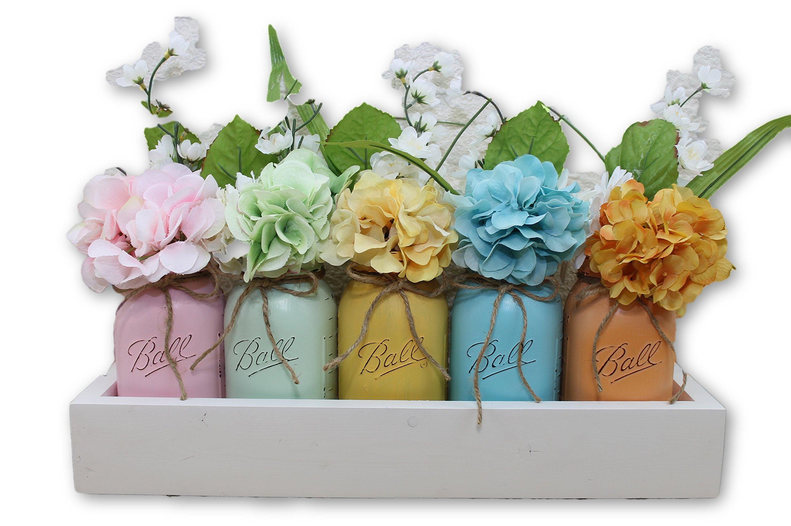 Key West Quart Mason Jar Planter Box Flower Arrangement Centerpiece