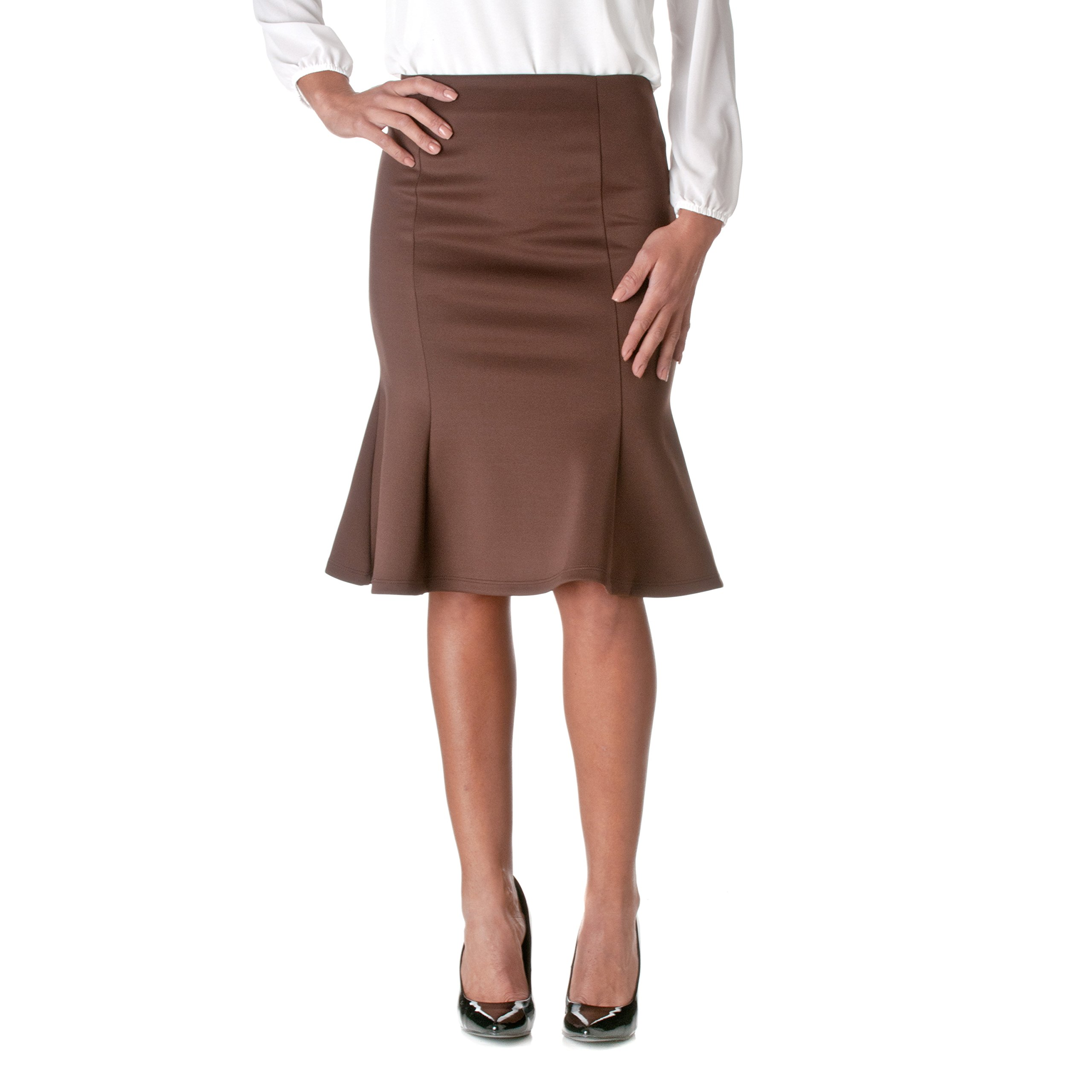Riverberry by Moa Women's Stretchy Flared Pencil Skirt, Brown, Large