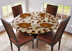 """Covers For The Home Deluxe Elastic Edged Flannel Backed Vinyl Fitted Table Cover - Sunflower Pattern - Small Round - Fits Tables up to 40"""" - 44"""" Diameter"""