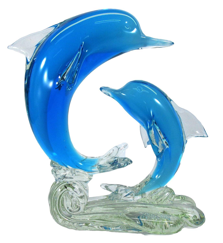 【Woliwowa】 置物 美しい 透明感 ガラスの イルカ カップル モチーフ (ライトブルー) [並行輸入品] B071KF4CMKライトブルー