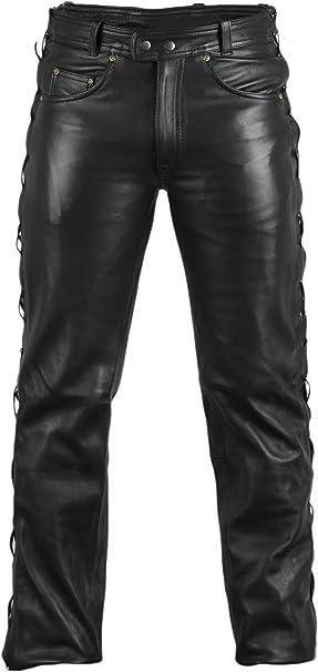 Mdm Lederjeans Lederhose Bikerjeans Rockerjeans Motorradhose Seitlich Geschürt Schwarz Bekleidung