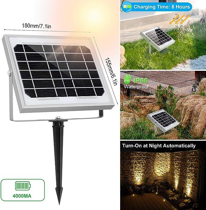 CLY Foco Solar LED, Proyector de Jardin, Blanco Cálido 3000K, Impermeable IP66, Foco Solar Iluminacion Exterior con Tres Bombilla para Jardín, Césped, ...