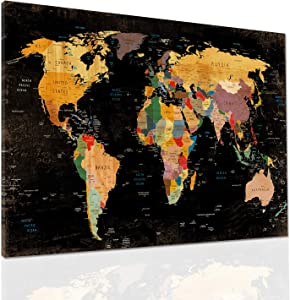 """Decor MI Colorful World Map Wall Art on Canvas Black Deco Prints Paintings Travel Map of The World Children Education Ready to Hang Map Decor Artwork for Home Living Room Decoration,24""""x35"""" 60x90cm"""