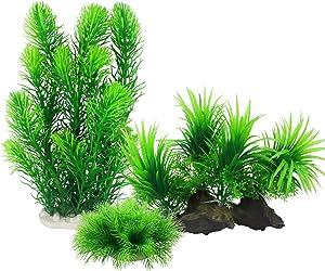MyLifeUNIT Artificial Aquarium Plants, Plastic Fish Tank Decor Plants for Aquarium Decorations (Pack of 3)