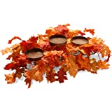 National Tree Company Artificial Centerpiece   Includes 3 Candle Holders, Maple Leaves and Metal Base   22 Inch