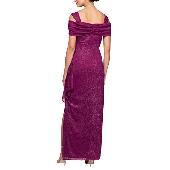 0d89cd12b2 Alex Evenings Women's Long Cold Shoulder Dress (Petite and Regular Sizes)  at Amazon Women's Clothing store: