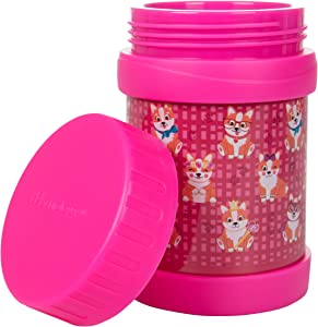 Bentology Stainless Steel Insulated Lunch 13 oz Jar for Kids –Large Leak-Proof Storage Container for Hot & Cold Food, Soups, Liquids - BPA Free - Fits Most Lunch Boxes and Bags - Corgi