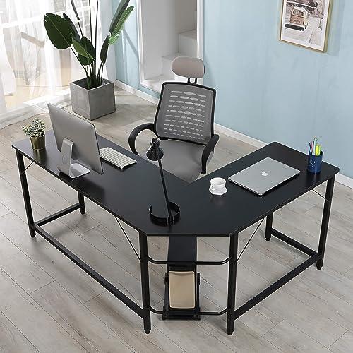 Modern L-Shaped Desk Corner Computer Desk PC Laptop Gaming Table Study Desk Home Office Wood Metal Study Workstation Desk