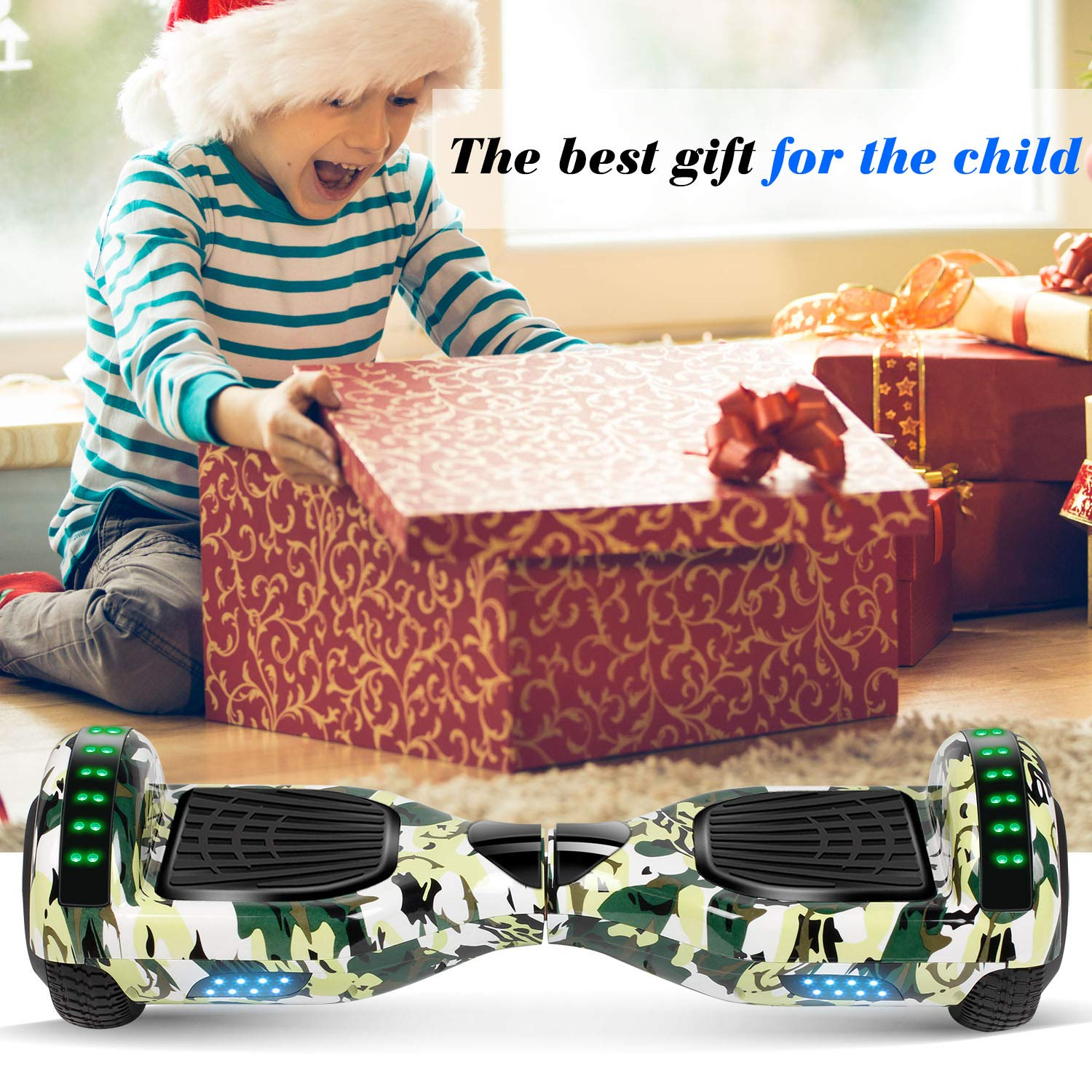 Hoverboard Self Balancing Scooter 6.5'' Two-Wheel Self Balancing Hoverboard with Bluetooth Speaker and LED Lights Electric Scooter for Adult Kids Gift UL 2272 Certified Fun Edition - Woodland Camo by SISIGAD (Image #6)