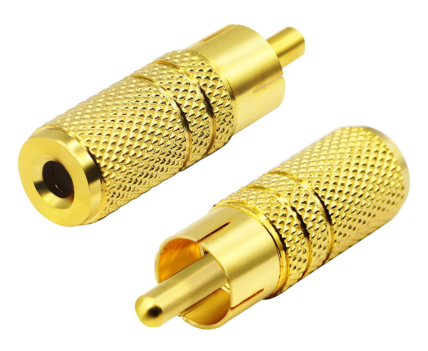 Female to RCA Male Audio Plug Adaptor Connector for 3.5MM Headphone Adapter Cable(Gold //2 Pack F//M) CGTime Gold Plated RCA to 3.5MM Audio Adapter Metal Jack 3.5mm 1//8 Inch
