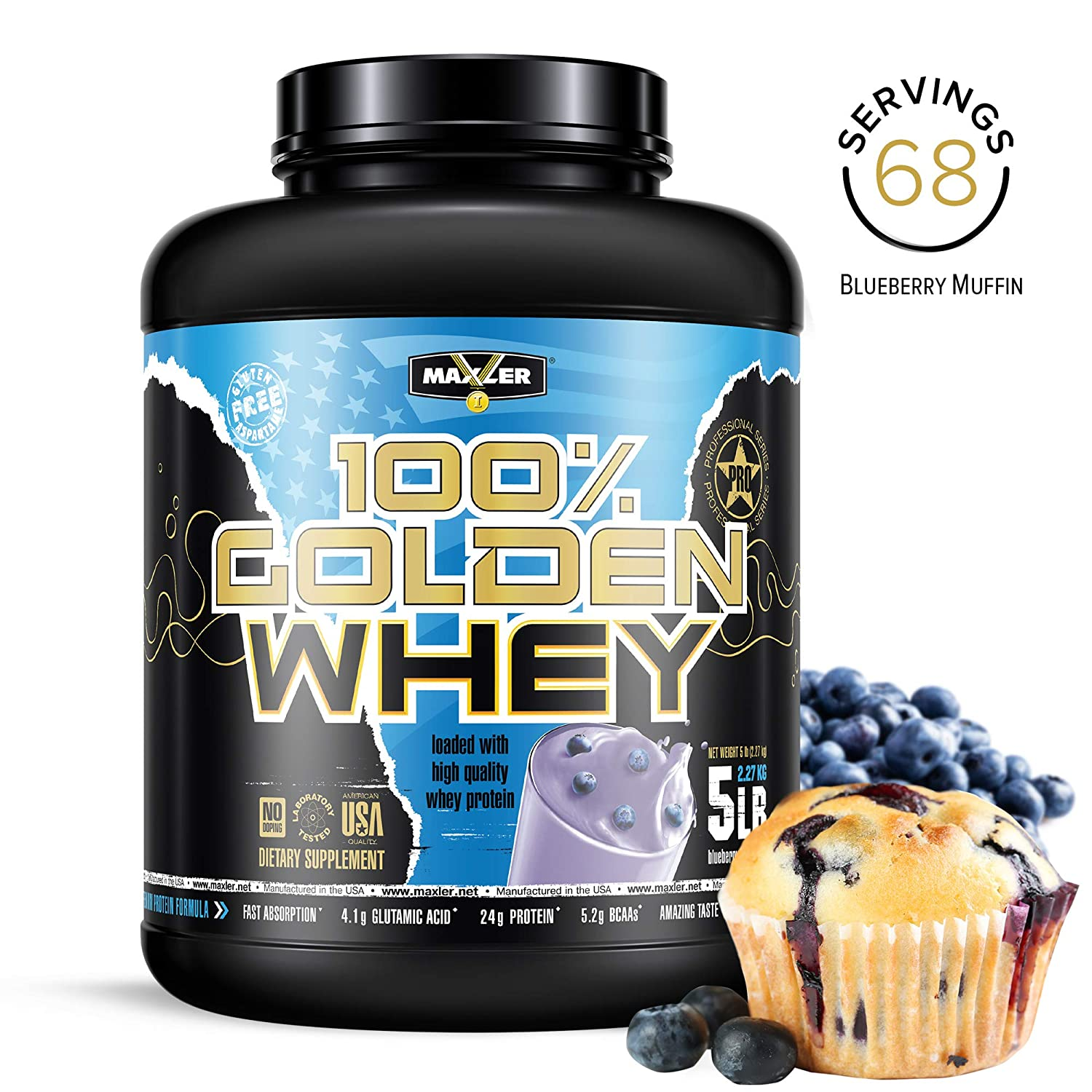 100 Golden Whey Blueberry Muffin 24g Premium Whey Protein Powder Intra Post Workout Muscle Recovery Fast-Absorbing Whey Concentrate, Hydrolysate Isolate Protein Blend 5 lbs