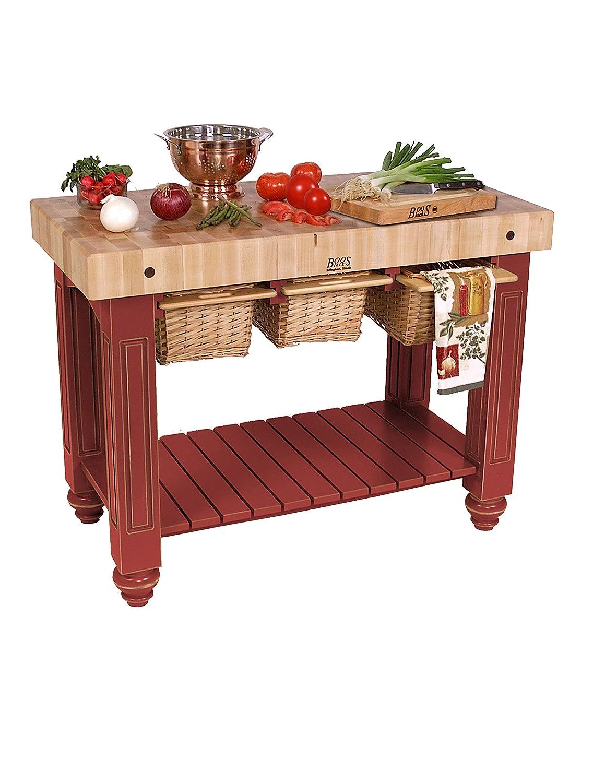 amazon com american heritage kitchen island with butcher block