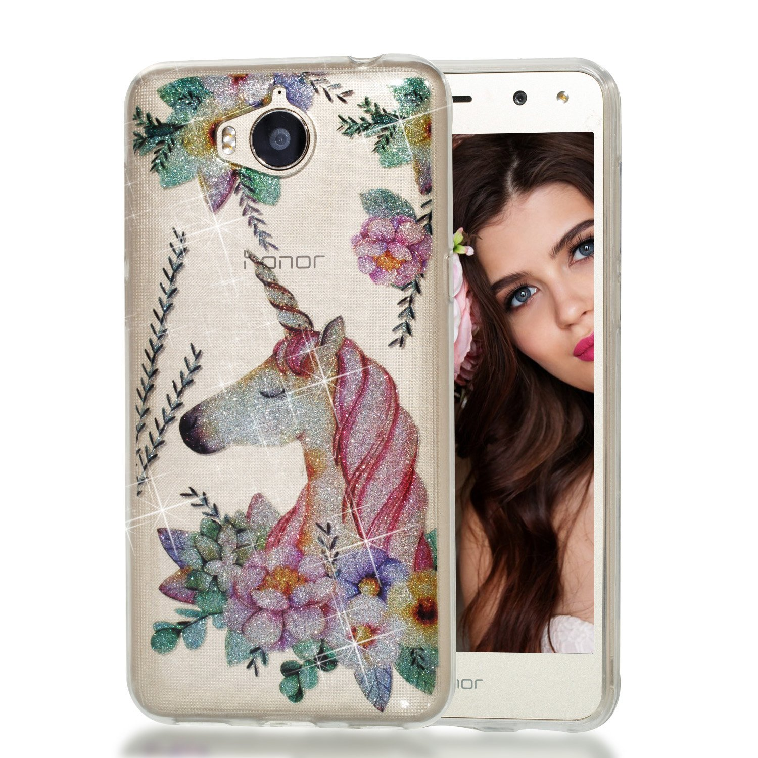 For Huawei Y5 2017/Y6 2017 Transparent Case,Aearl Flash Glitter Silicone Slim Shock Absorption Cover TPU Spark Clear Rubber Soft Shell with Protective Film for Huawei Y6 2017/Y5 2017 - Gold Flower