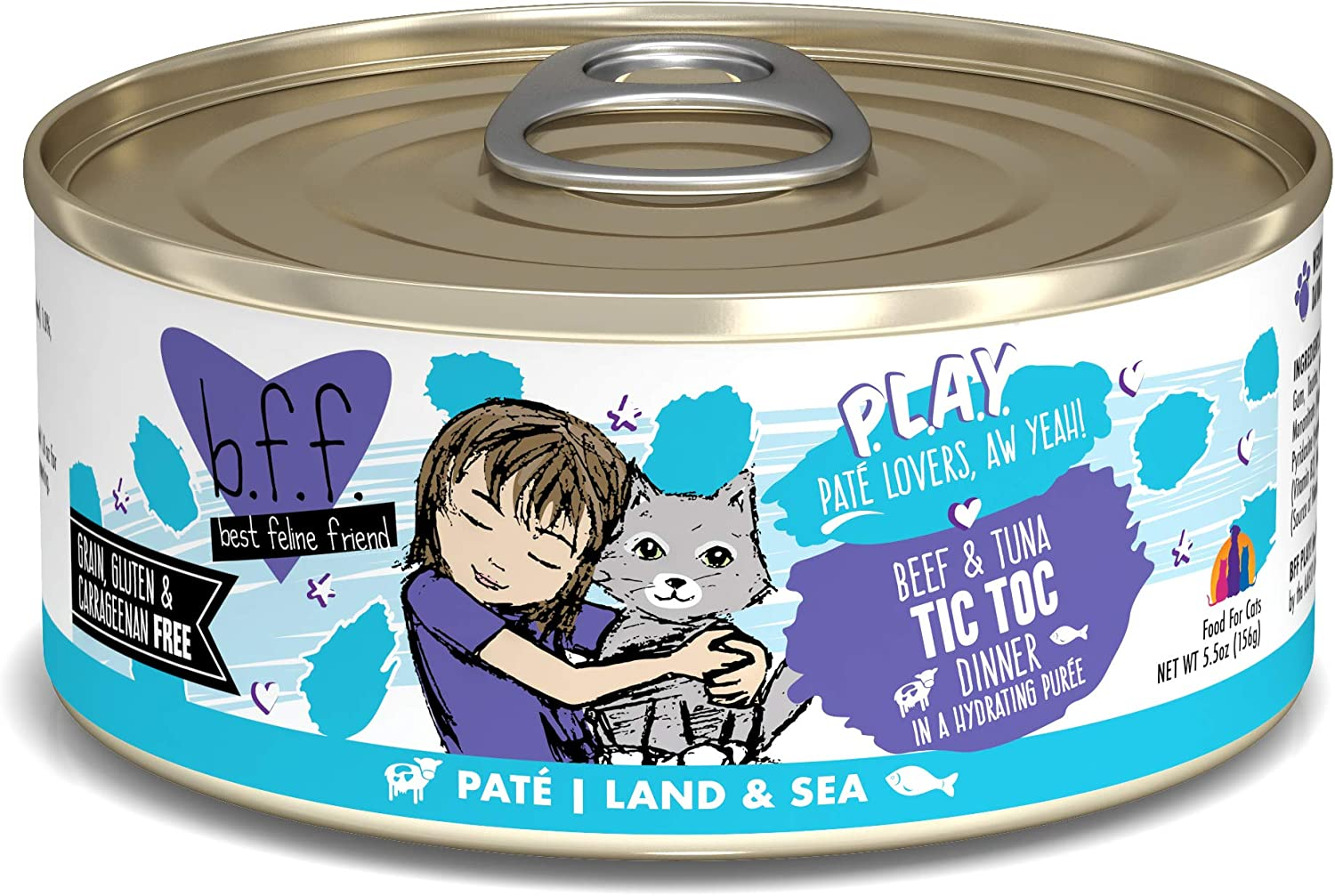 B.F.F. PLAY - Best Feline Friend Paté Lovers, Aw Yeah!, Beef & Tuna Tic Toc with Beef & Tuna, 5.5oz Can (Pack of 8)