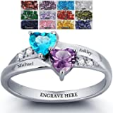Engagement Ring Promise Ring For Her 2 Heart Birthstones 2 Names & 1 Engraving Customized & Personalized