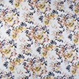 SheetWorld Fitted 100% Cotton Percale Cradle Sheet, Modern Floral Garden Cream, 18 x 36, Made in USA