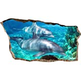 Startonight 3D Mural Wall Art Photo Decor Window Dolphins in Water Amazing Dual View Surprise Large 32.28 inch By 59.06 inch Wall Mural Wallpaper for Living Room or Bedroom Beach Collection