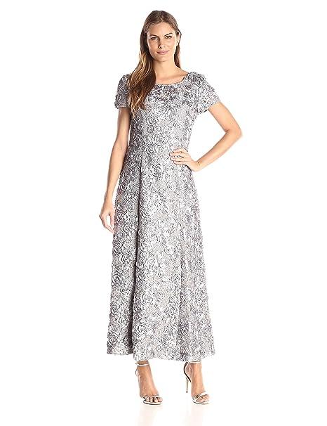 e19f21e94f3 Alex Evenings Women s 6 Long A-Line Rosette Dress with Short Sleeves Sequin  Detail