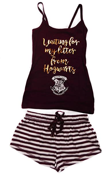 Ladies Harry Potter Hogwarts juego de pijama pantalones cortos y chaleco Top Burgandy/White 4