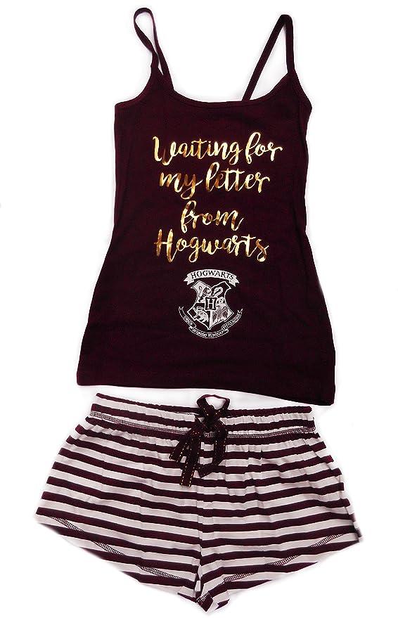 Ladies Harry Potter Hogwarts juego de pijama pantalones cortos y chaleco Top Burgandy/White 4: Amazon.es: Ropa y accesorios