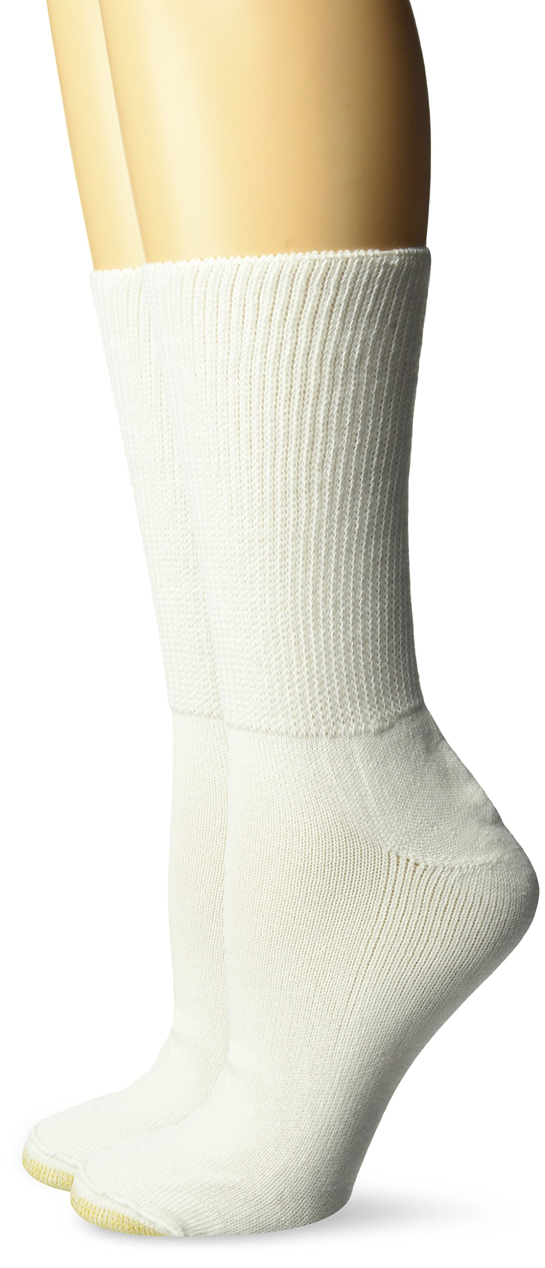 Gold Toe Women's Super Soft Non-Binding Crew Socks, 2 Pairs, White, Shoe Size: 6-9