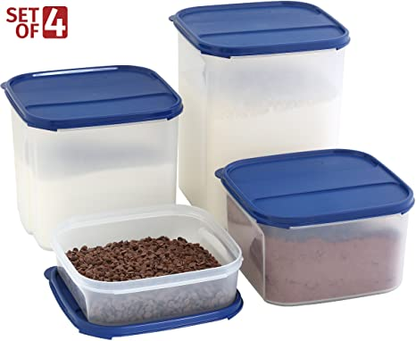 Superbe LARGE Dry Food Storage Containers For Flour Sugar Chips, Baking Ingredients    Set Of 4