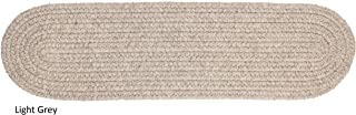 """product image for Rhody Rug Woolux Wool Braided Reversible Stair Treads (Set of 4) - 8"""" x 28"""" Oval Light Grey"""