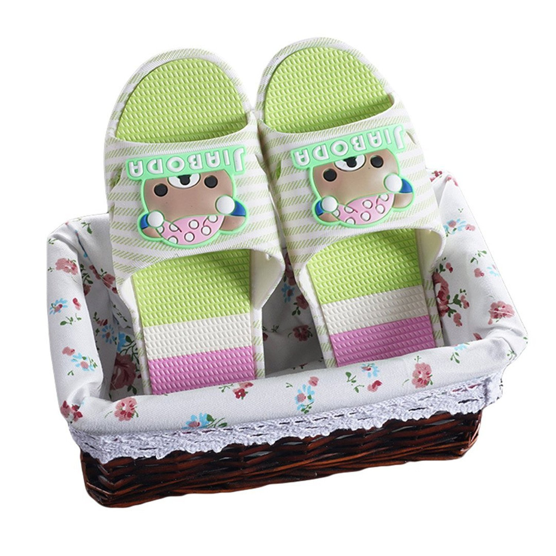 Laolaooo Shoes Women Skid Soles Sandals Summer Beach Flip Flops Bear Skid Shoes Green4.5 B M US
