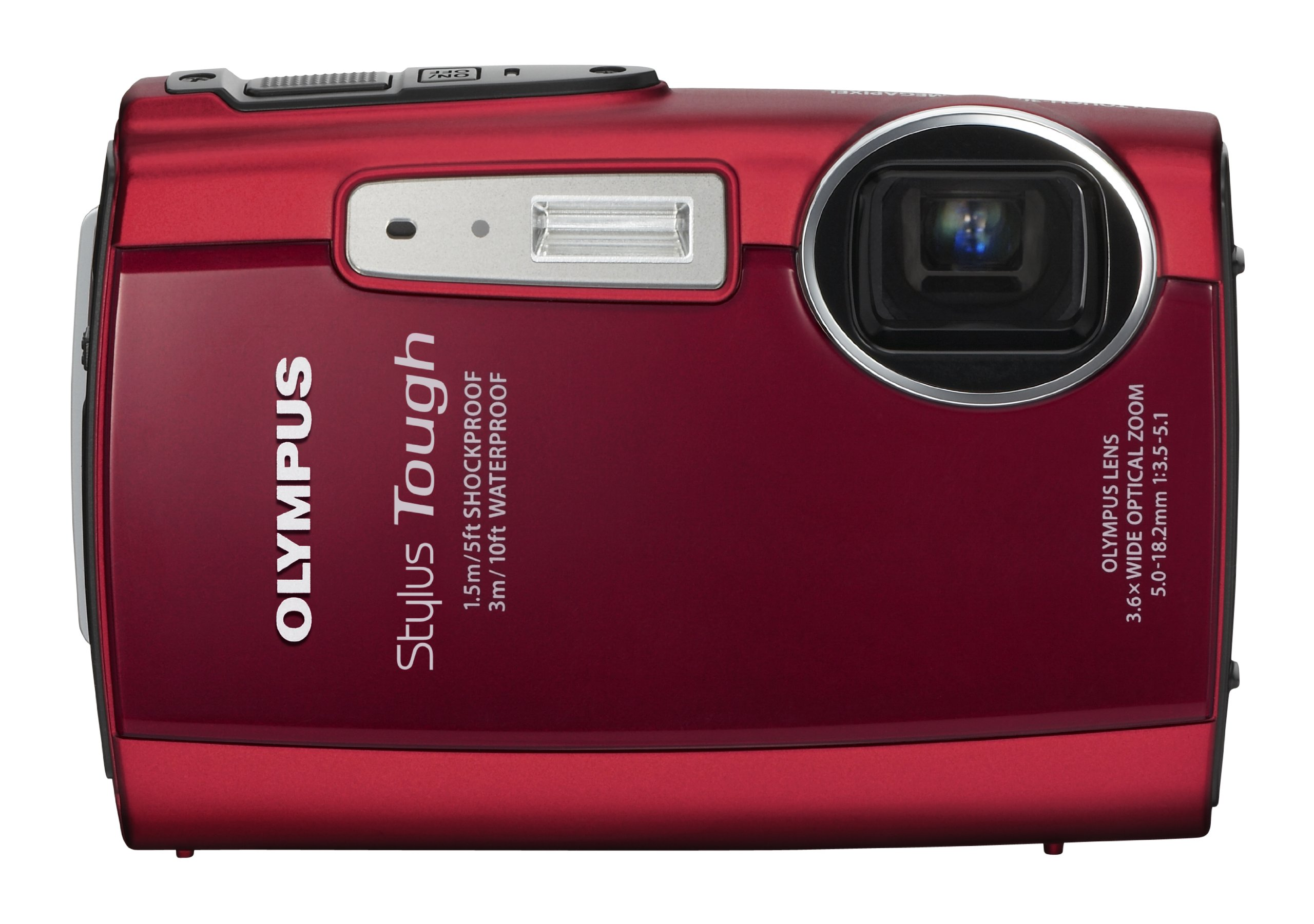 Olympus Stylus Tough 3000 12 MP Digital Camera with 3.6x Wide Angle Zoom and 2.7-inch LCD (Red) (Old Model) by Olympus (Image #1)