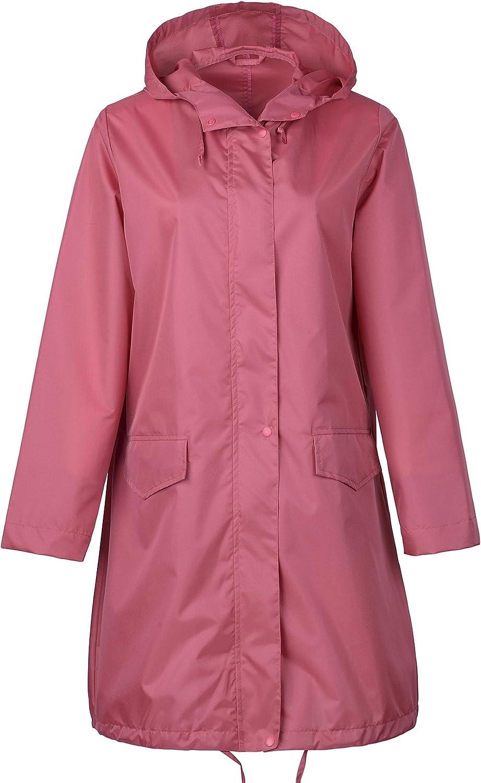 QZUnique Women's Packable Waterproof Rain Jacket Poncho Raincoat with Hood (Pink)