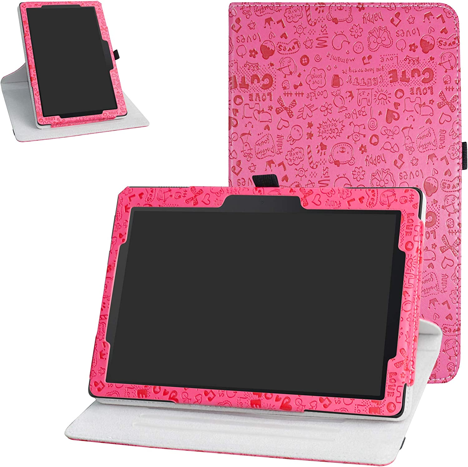 """Lenovo Tab E10 Rotating Case,Bige 360 Degree Rotary Stand with Cute Pattern Cover for 10.1"""" Lenovo Tab E10 TB-X104F Tablet(2018),Rose Red"""