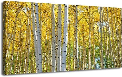 Ardemy Canvas Wall Art Yellow Birch White Branch Forst Landscape Artwork Print