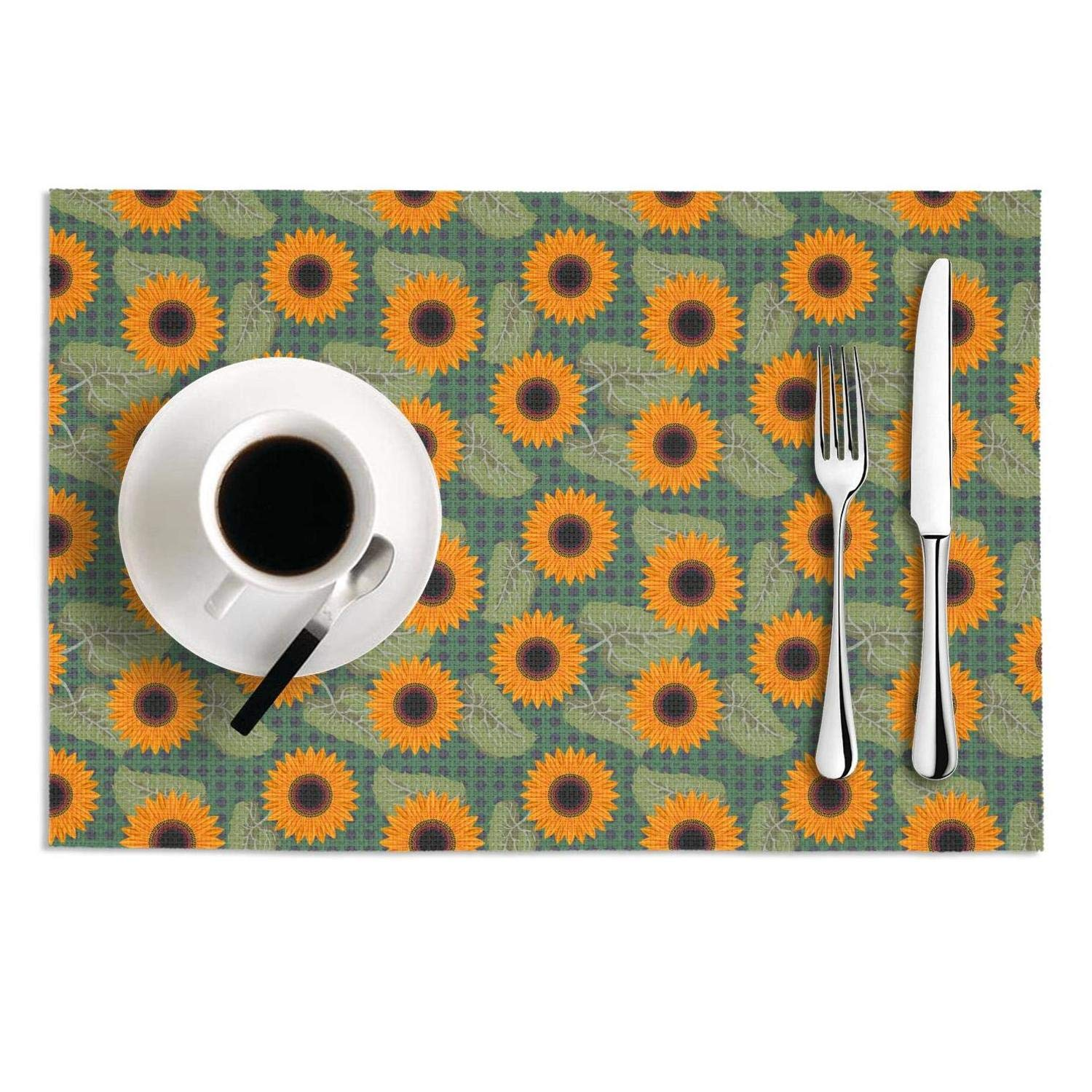 MAD DAFGA Graphic Sunflowers Near me PVC-Set of 2 Heat-Resistant Table Mats Coffee Dining Table Mats