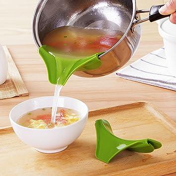 Cocina embudo herramientas ollas y sartenes para evitar derrames Circular borde Deflector líquido de silicona Embudo: Amazon.es: Hogar