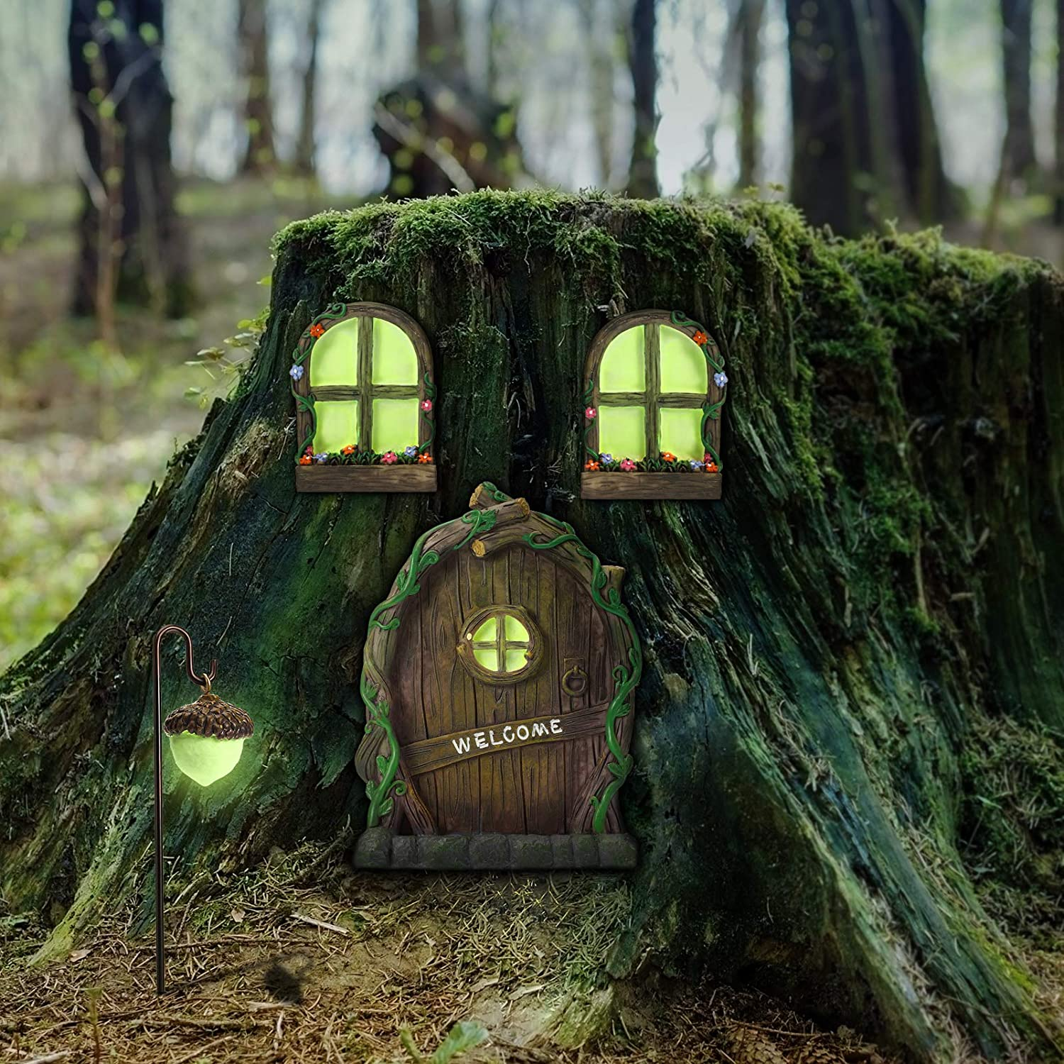 Fairy Gnome Home Window and Door with lamp for Trees Decoration for Trees, Yard Garden Sculpture Decoration