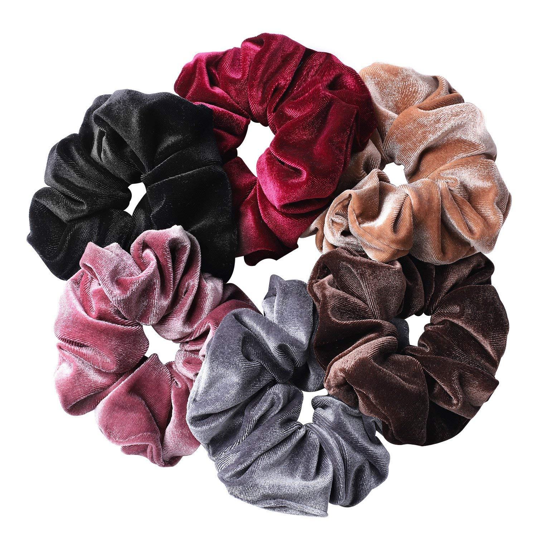 whaline 6 big hair scrunchies velvet elastics