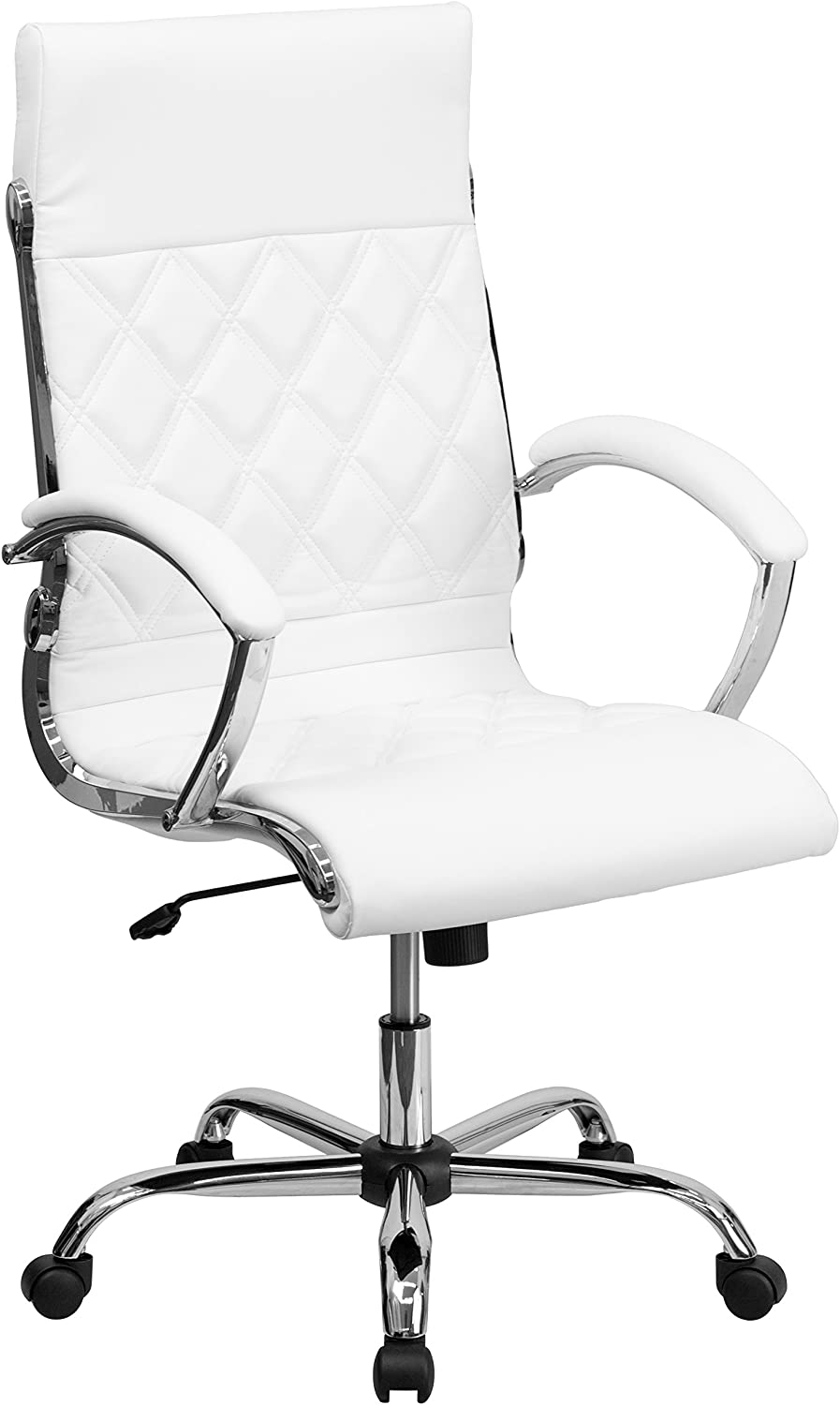 Flash Furniture High Back Designer Quilted White Leather Executive Swivel Office Chair with Chrome Base and Arms