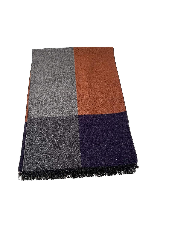 Elegante sciarpa invernale in seta di ottima qualità , colore bordeaux/ grigio/ Blue / antracita WS12145