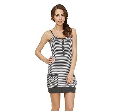 QianXiu Women Nightwear Sling Nightdress Striped Nightgown Modal Sleepwear  Cotton Nightshirt Comfortable Leisure Pajamas  Amazon.co.uk  Clothing ffc3a0774
