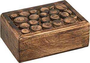 5x7 Wood Jewelry Keepsake Box Organizer - Handmade Wooden Celtic Trinket Treasure Memory Box Storage with Log Design for Rings Bracelets Watch Earrings Necklaces - Home Living Room Decor - Men Women
