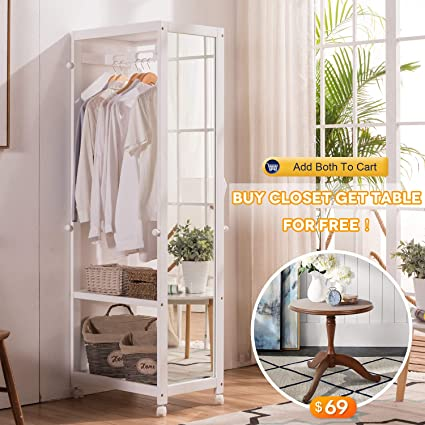 Free Standing Armoire Wardrobe Closet With Full Length Mirror, 67u0027u0027 Tall Wooden  Closet