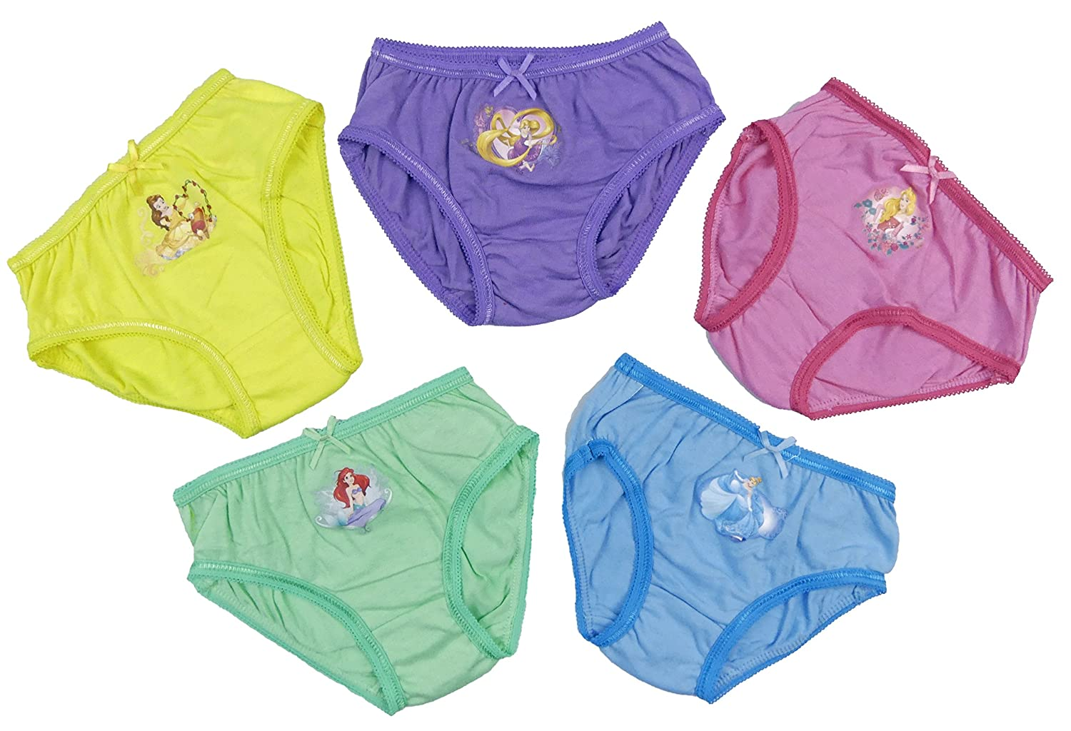 Disney Princess Cotton Briefs Pants Slips Underwear Five Pack 2-3 Up to 6-7 Year