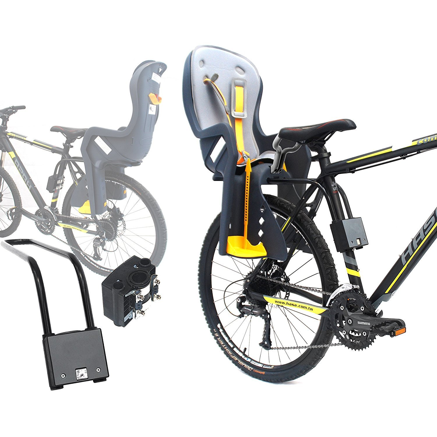 CyclingDeal Bike Baby Rear Seat with Handrail and Helmet