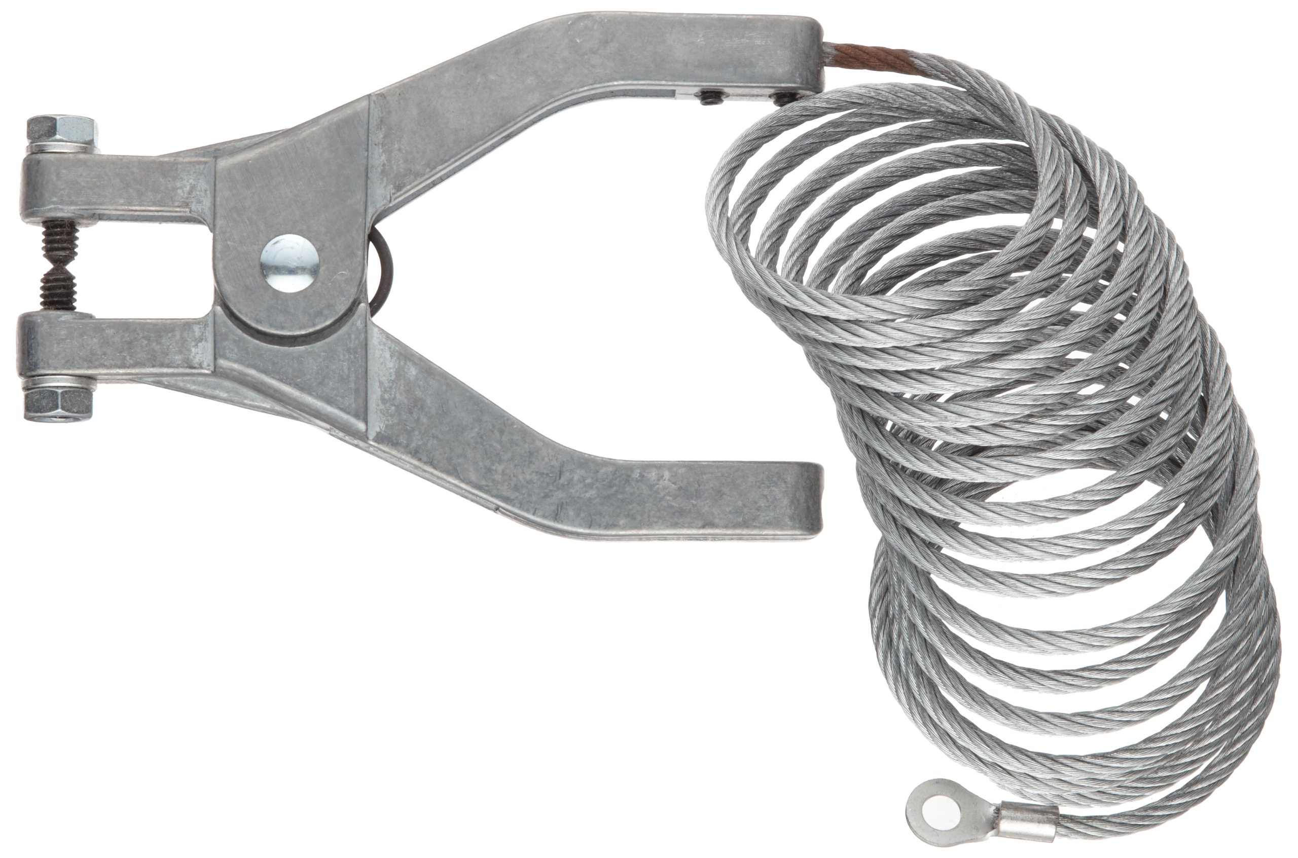 Justrite 08498 3' Long Flexible Bonding Wire With Flexible 3'-Hand Clamp And 5-8'' C Clamp